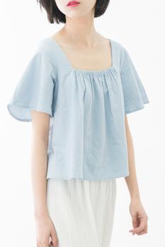 金大班自制 方型领荷叶袖春秋女衬衫 短袖