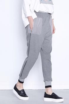 云上生活灰色小脚裤女长裤时尚松紧腰休闲裤