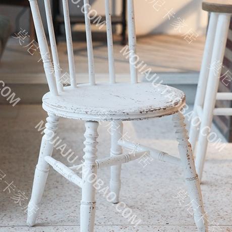 欧式法式美式田园复古温莎椅餐椅实木白色做旧椅子
