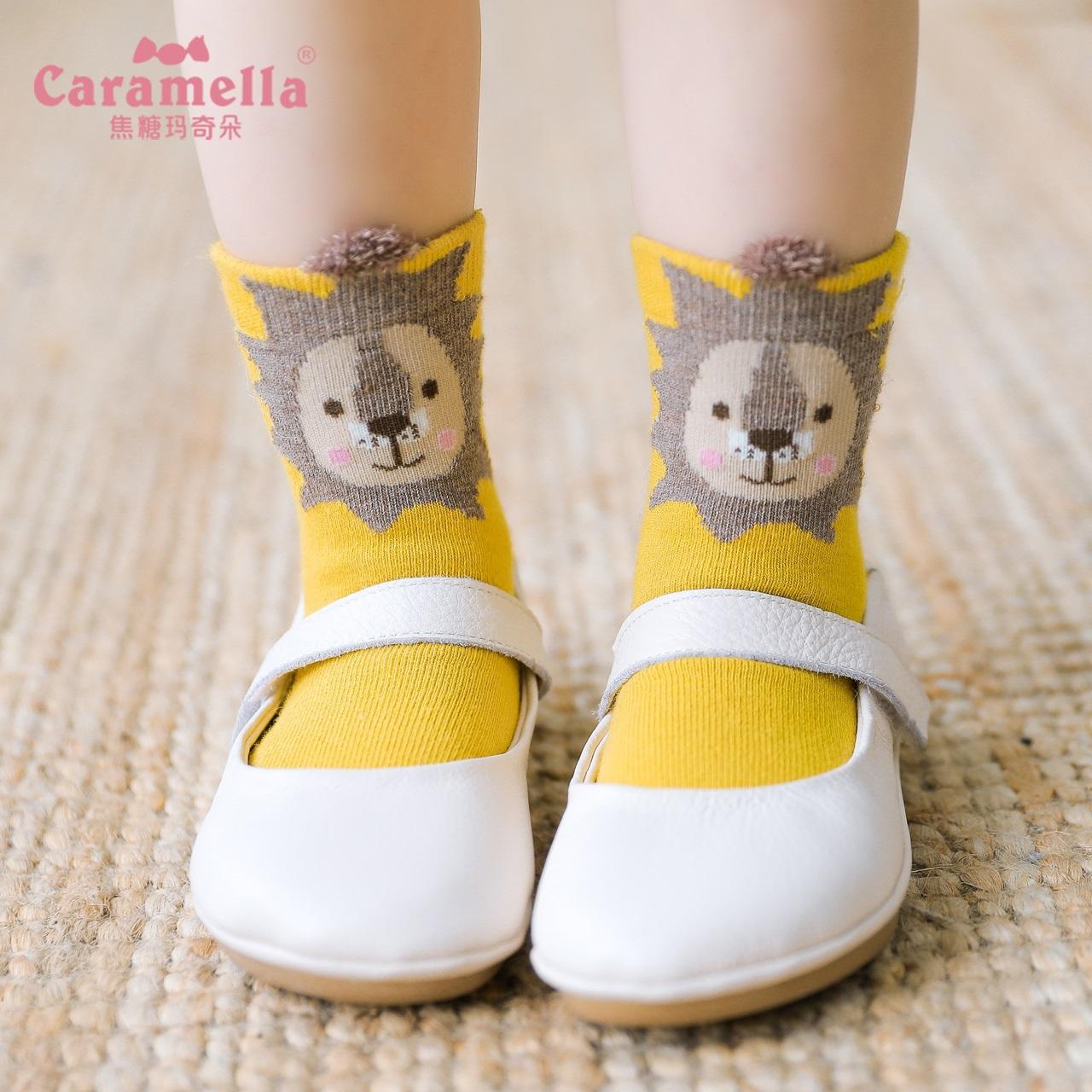 caramella宝宝新生婴儿童中长筒卡通可爱女童春秋纯棉防滑袜子