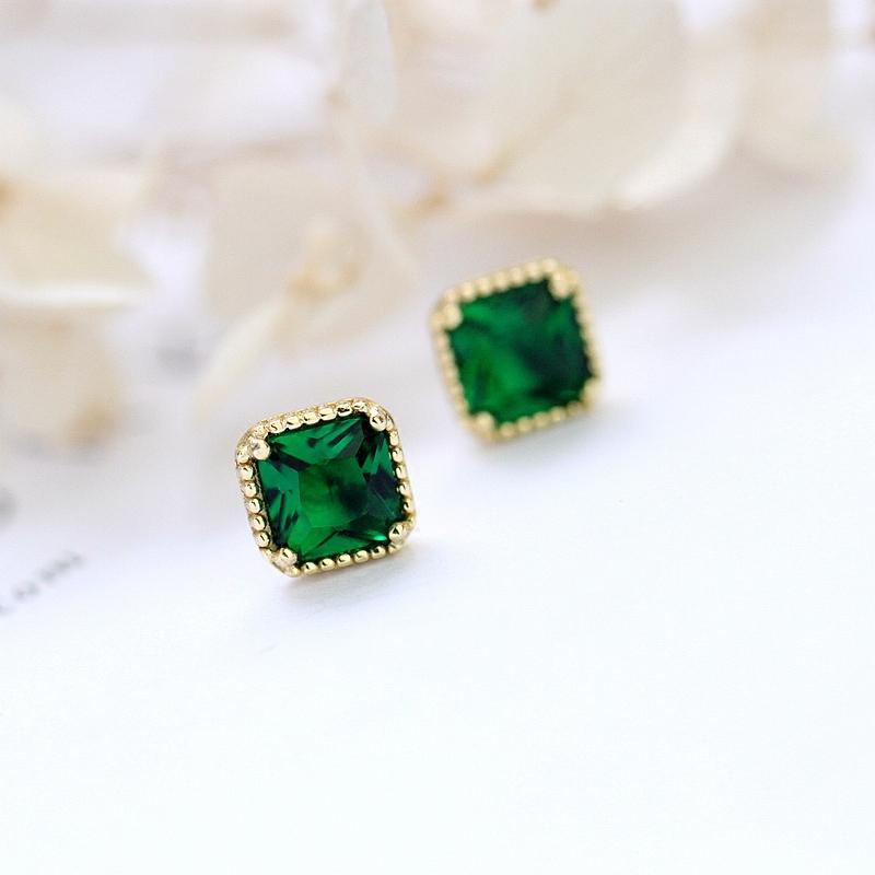 小Z优品 日本S925纯银镀k金耳钉几何方形祖母绿色宝石耳钉女礼物