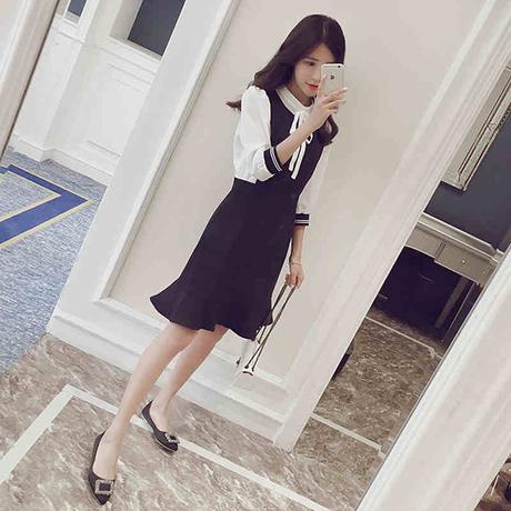 【雪纺连衣裙】_长袖百褶裙图片