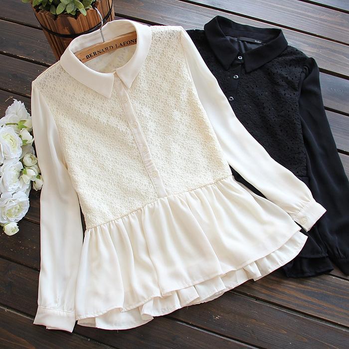 женская рубашка 4545 новой весной 2015 женщин японские дамы кружева двойной слой шифона юбку длинный рукав воротника рубашки Блузки