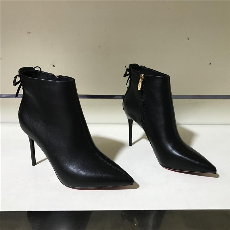 品牌撤柜断码特价2020秋冬新款尖头韩版细高跟真皮拉链加绒女短靴