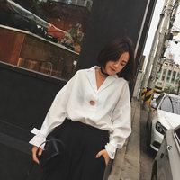 2016秋装新款韩版宽松休闲蝙蝠长袖套头衬衫韩范女装潮流个性白色