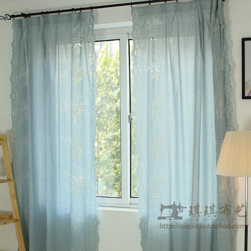 Готовые шторы Супер красоты больше ценность для деньги простые Голубой Текстурированные ткани вырезать Роза тянет занавес Шторы двойного использования стилей