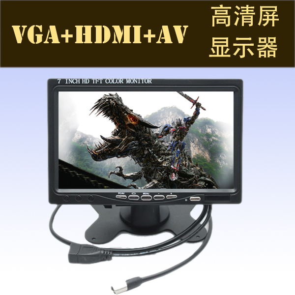 Автомобильные телевизоры English video VGA+AV+HDMI Tft Color Monitor wired video door phone new 7inch color tft lcd monitor screen video doorphone touch button outside panel of video intercom black