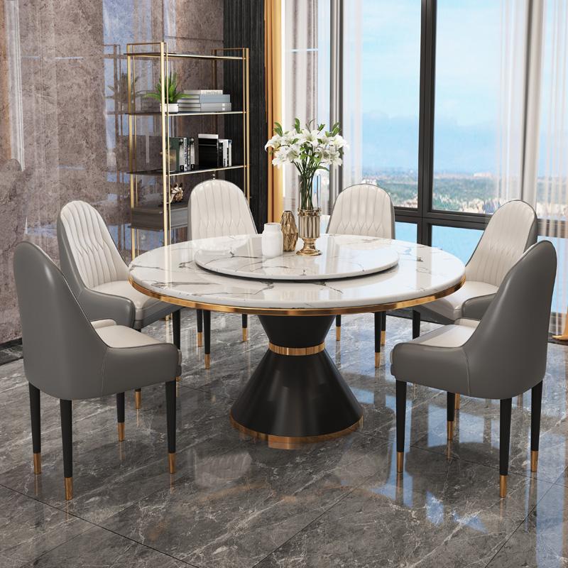 卡答轻奢大理石圆桌带转盘意式极简岩板餐桌椅现代1.8米2米大饭桌