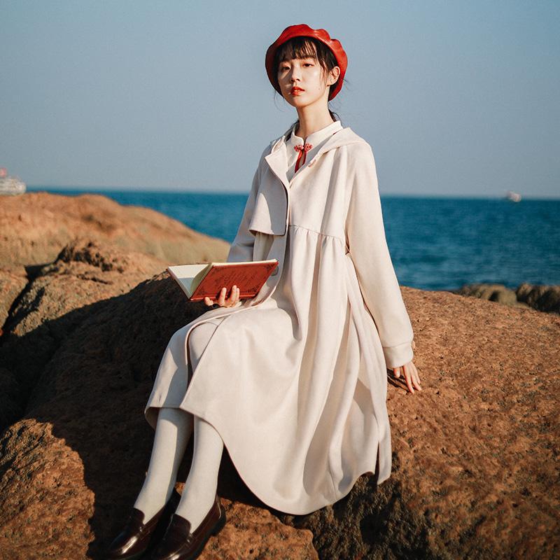 微笑向暖复古连帽捏褶高腰风衣女中长款小个子秋装2020年新款外套