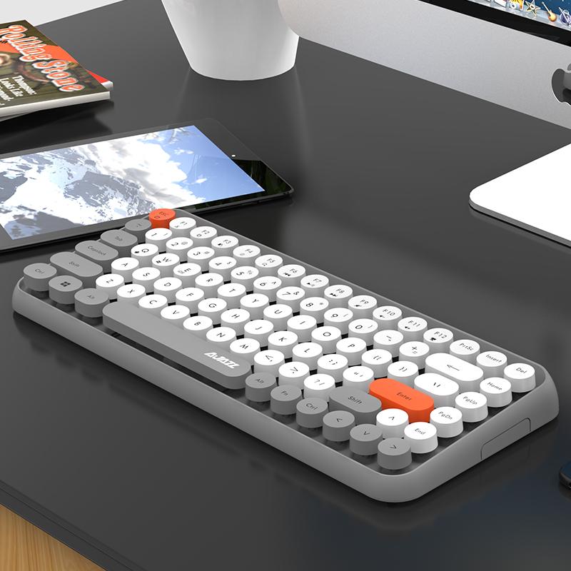 黑爵308i 无线蓝牙键盘台式电脑外接ipad平板mac笔记本外置安卓手机通用打字办公专用网红同款朋克马卡龙色
