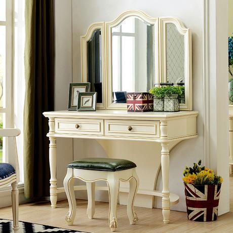 乡村梳妆台欧式妆凳化妆柜实木地中海妆桌卧室家具