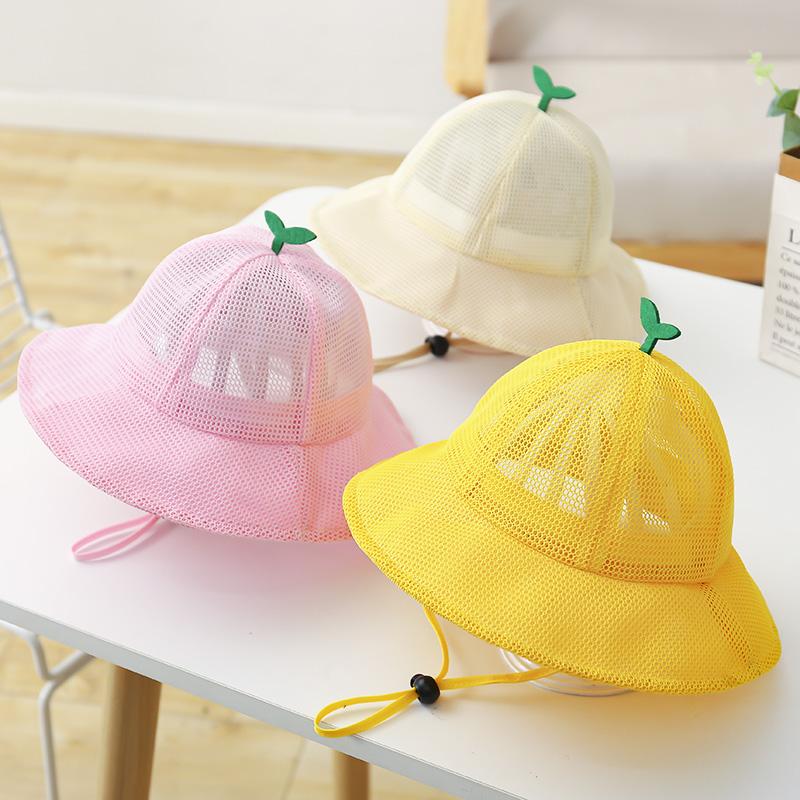 儿童渔夫帽大帽檐夏季薄款网眼透气遮阳帽防晒帽宝宝帽子男童女童