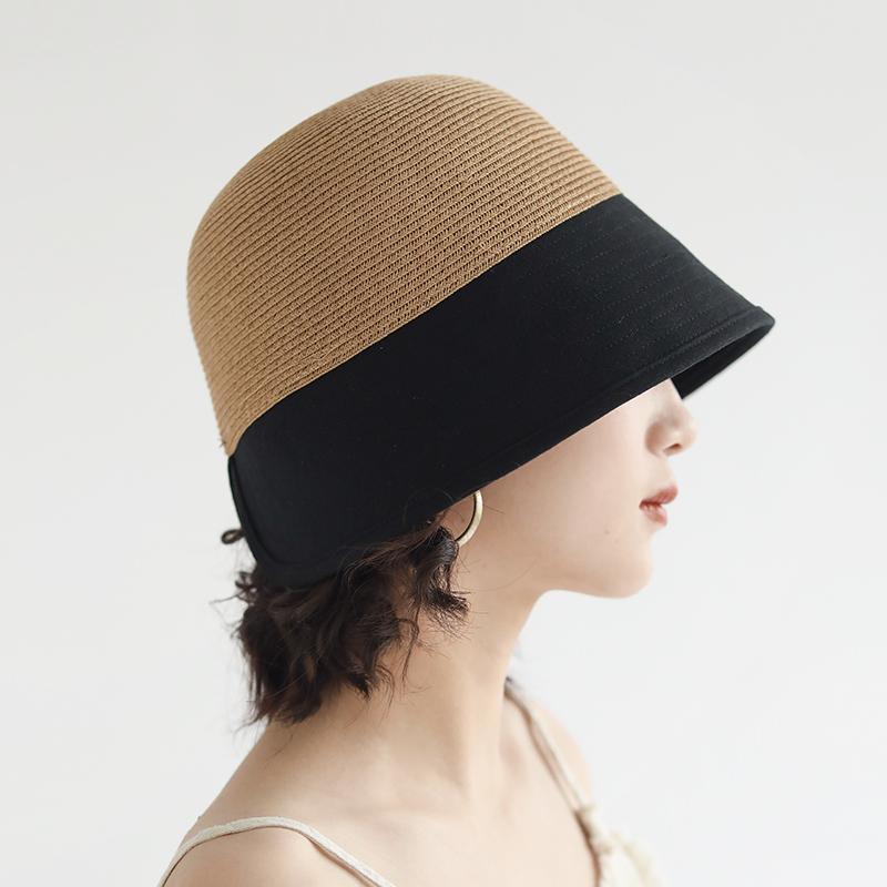 夏季百搭水桶帽女韩版帽子日系撞色后开衩渔夫帽可折叠防晒遮阳帽