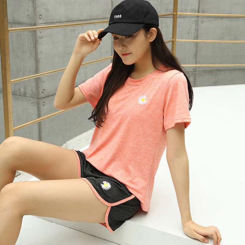 春夏季小雏菊速干衣套装网红瑜伽服健身房跑步女宽松显瘦运动套装