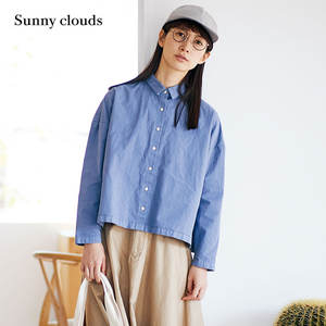 Sunny clouds Shuttle Notes日本面料女式纯棉塌肩蝙蝠袖衬衫