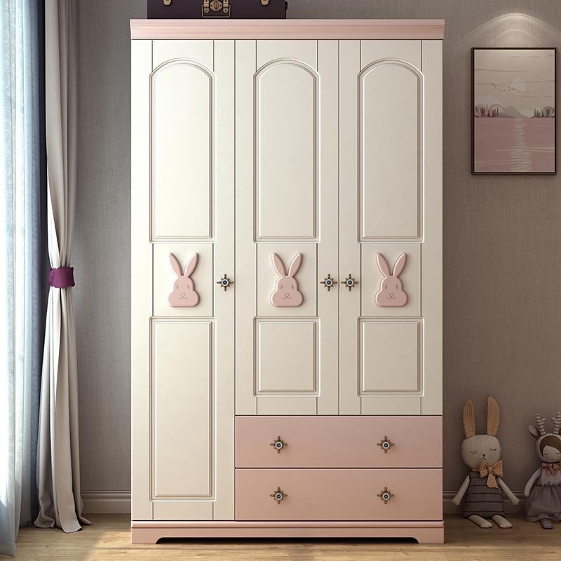 北欧兔子三门衣柜 卧室木质储物柜子 简约现代女孩儿童衣柜大衣橱