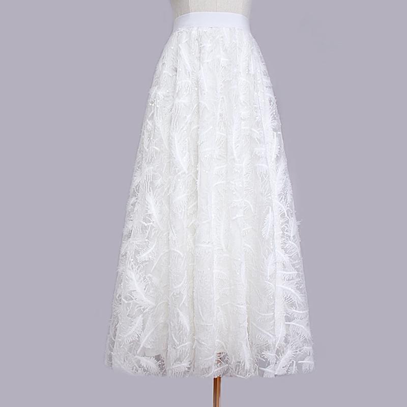 2020春夏白色网纱半身长裙百褶蓬蓬伞裙子chic珠片羽毛刺绣女半身