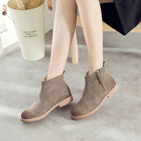 2016秋冬新款韩版短筒靴女英伦风复古平跟圆头女靴低跟平底潮鞋