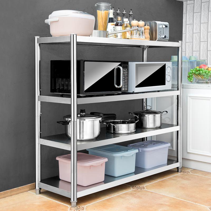 不锈钢厨房置物架微波炉收纳储物用品多层落地四层调味料烤箱架子