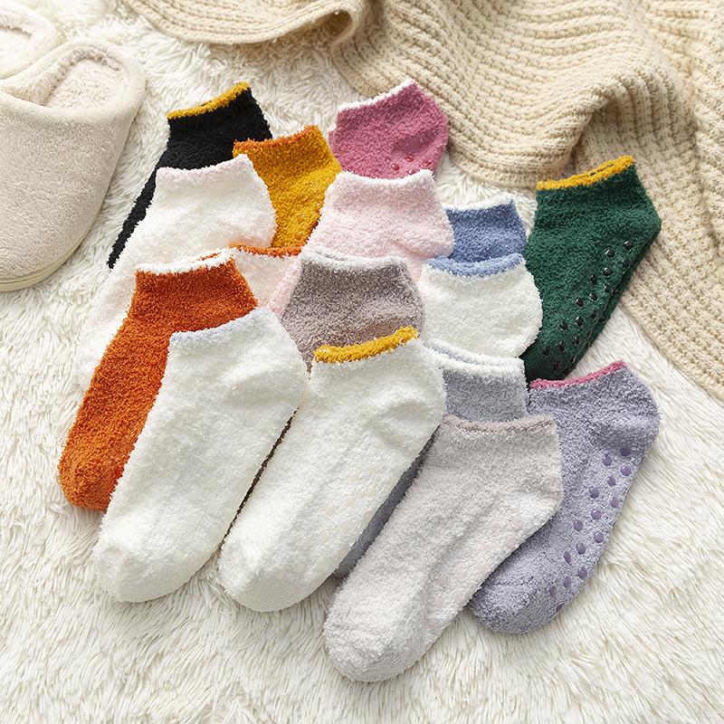 袜子女短袜浅口秋冬日系加绒加厚珊瑚绒地板袜防滑硅胶隐形袜女士