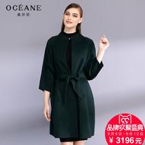 17冬新蝙蝠袖中长款呢子女高端双面羊绒大衣呢外套-中长款呢子大衣