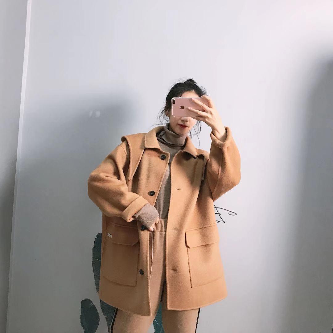 全澳毛兔耳朵连帽羊绒大衣高端宽松韩国减龄廓形手工羊毛大衣中长