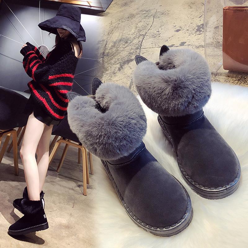 雪地靴女皮毛一体2018新款短筒韩版百搭学生冬季棉鞋加绒加厚短靴
