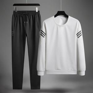 運動套裝男中老年春秋季長袖跑步運動服衛衣長褲爸爸裝男裝兩件套
