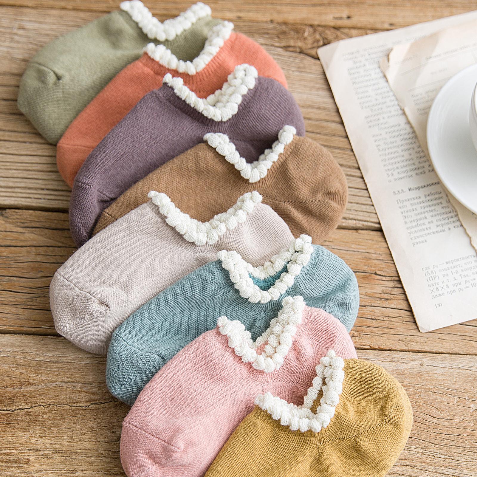女袜子女船袜短袜浅口低帮隐形纯棉硅胶防滑韩国可爱日系秋季全棉