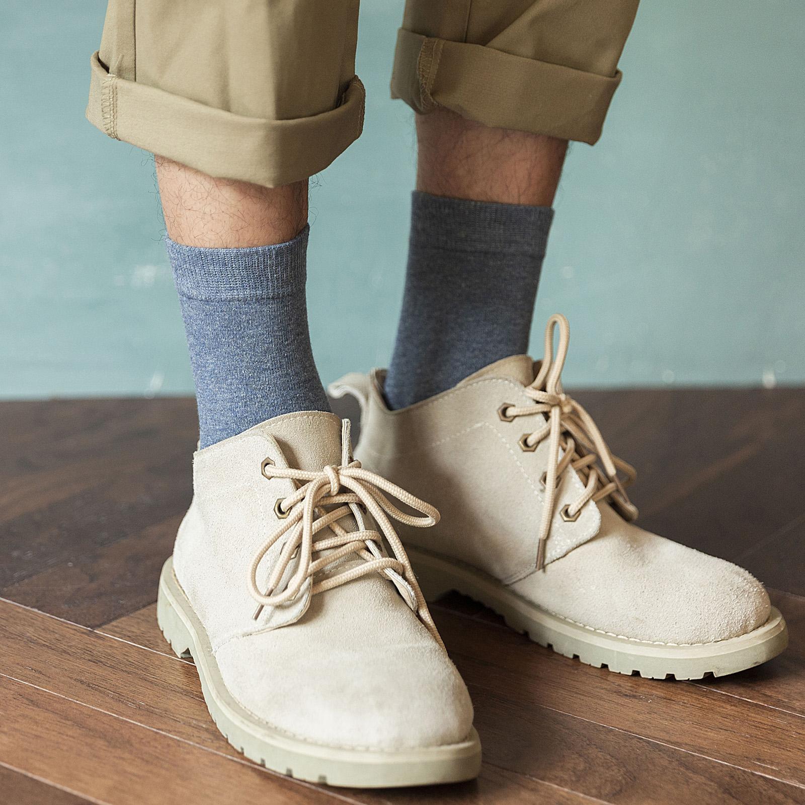 长袜子男士秋天中筒袜纯棉防臭吸汗全棉纯色百搭秋冬长筒袜高筒潮