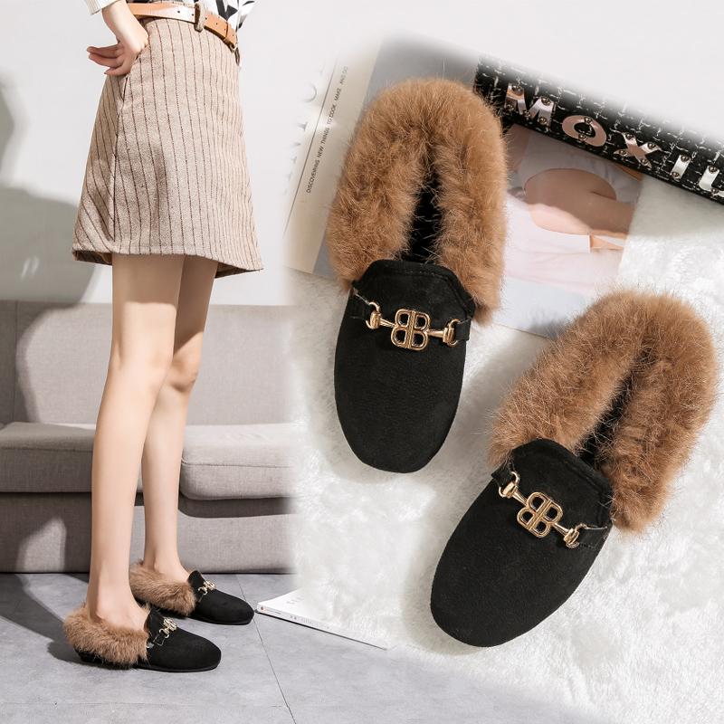 颐娉秋冬新款保暖加绒加厚防滑女平底鞋