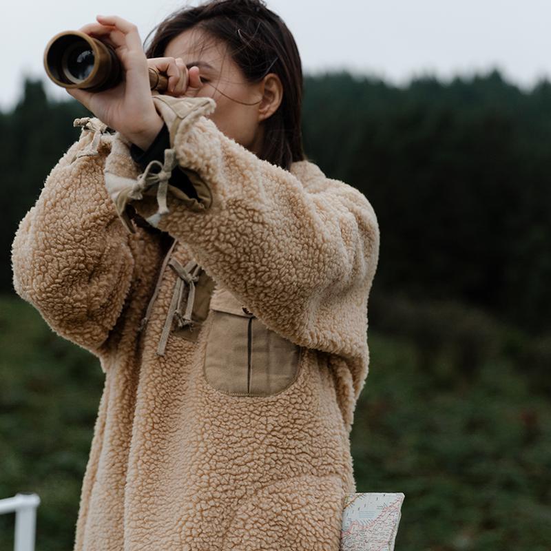 靴下物中长款羊羔绒卫衣裙过膝新款韩版冬装女保暖加厚宽松外套