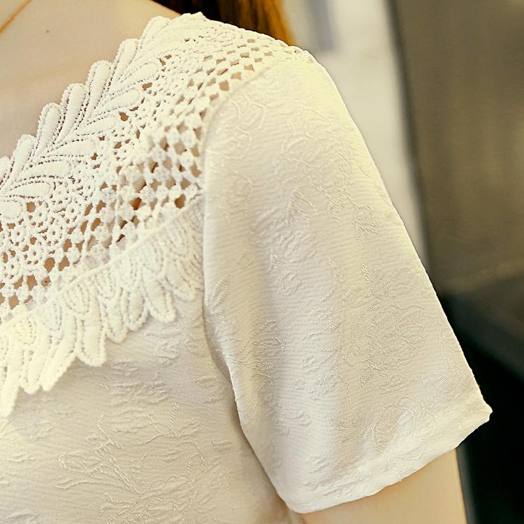 新款2015夏装韩版女装圆领钩花上衣短裤两件套D-16