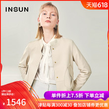 INSUN/En Shirt Fashion Simple Stitching Ribbed Leisure Coat Leather Short Style Women's Spring Garment of 2019