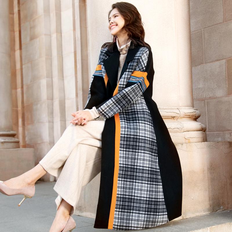 双面羊绒大衣女2020秋冬季新款孔雀蓝格子中长款高端阔版毛呢外套