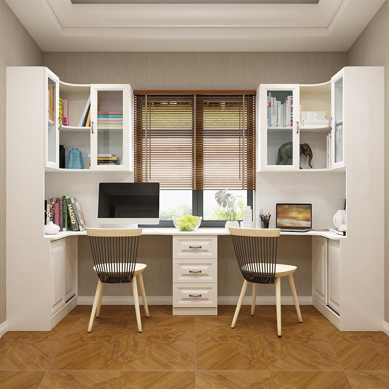 台式转角电脑桌飘窗双人书桌书柜一体家用双人桌子书桌书架组合