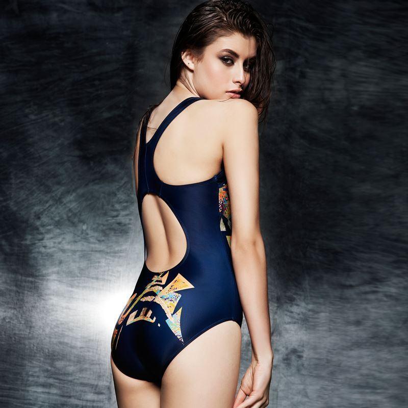 外贸原单高端大码专业运动员竞赛训练速干三角连体泳衣女印花紧身