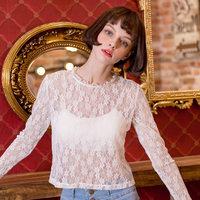 【买三免一】镂空修身性感打底白色网纱上衣长袖蕾丝打底衫女春