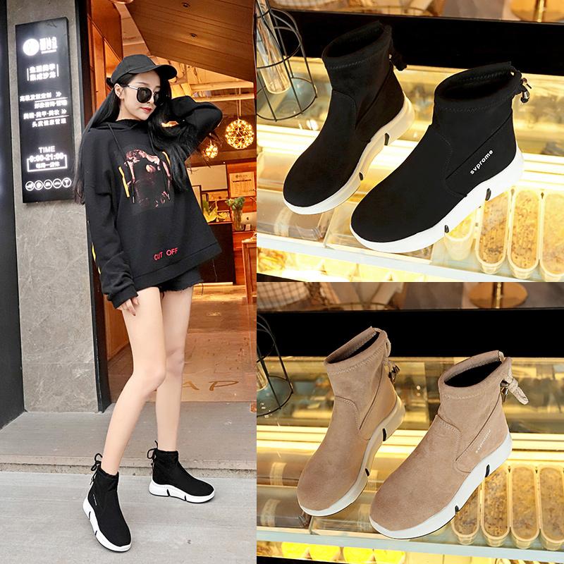 马丁靴女秋冬季2018新款韩版百搭厚底短筒靴运动女靴平底短靴子