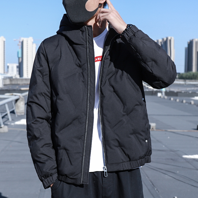 反季清仓羽绒服男 轻薄连帽款 青年冬季韩版修身短款外套潮流帅气