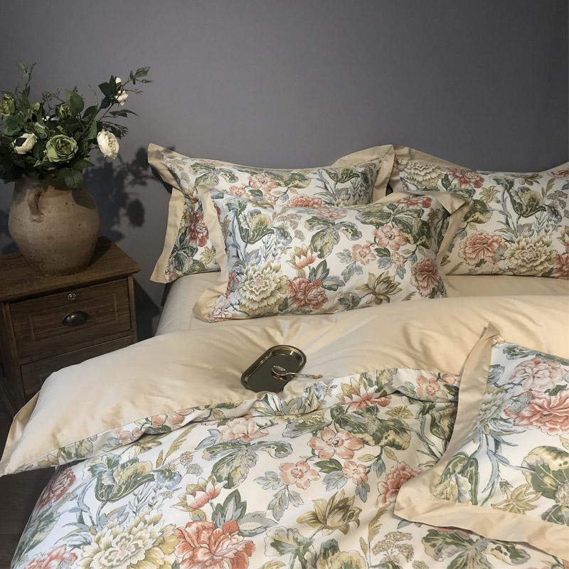 简欧小美式复古风60支埃及长绒棉四件套高端正品全棉床上用品1.8