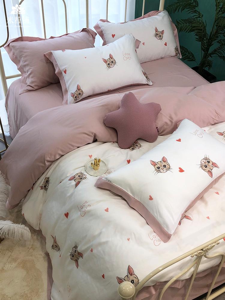 ins天丝四件套小猫咪床上用品 夏季100%冰丝萌宠可爱被套床单1.8