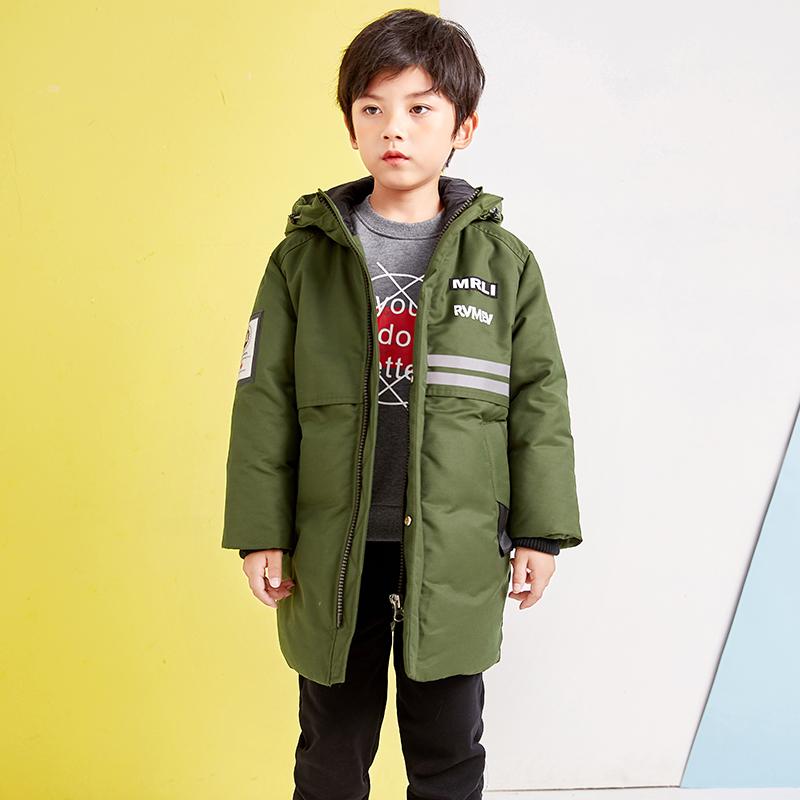 2019反季新款儿童中长款羽绒服男童装中大童洋气冬装加厚保暖外套