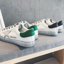 型男鞋子林弯弯秋季运动休闲鞋潮流韩版休闲皮鞋运动板鞋拼接做旧-图片