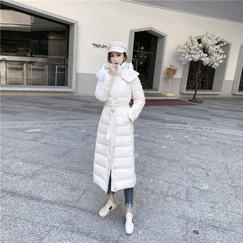 反季特卖女羽绒服长款过膝2020冬季修身系带保暖白鸭绒羽绒衣外套