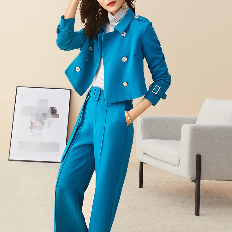 心语泉短款外套阔腿裤两件套高端女装潮春秋新款时尚气质职业套装