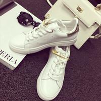 【2双150元】韩版别针休闲运动鞋女白色板鞋平底鞋单鞋真皮小白鞋