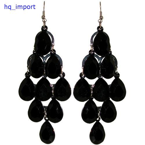Сувенир   Chandelier Earrings, In Black With Silver Finish цена и фото