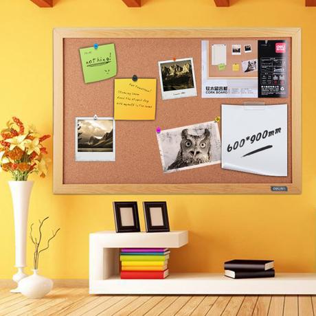 得力软木板照片墙留言板挂式创意背景墙办公