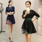 2015秋装新款七分袖韩版时尚女装修身中袖连衣裙女 格子长袖短裙